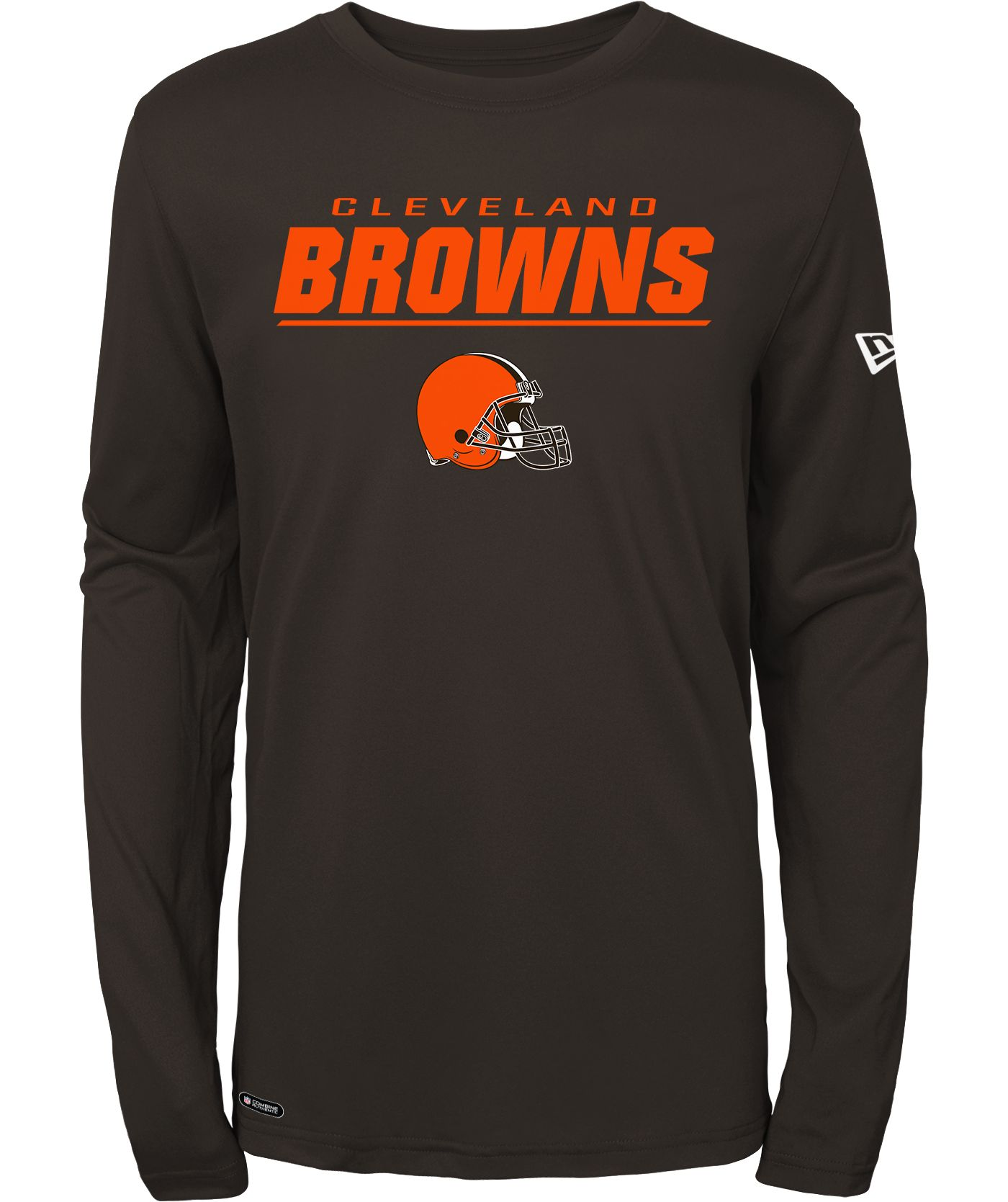 New Era Men's Cleveland Browns Combine Brown Polyester Long Sleeve Shirt