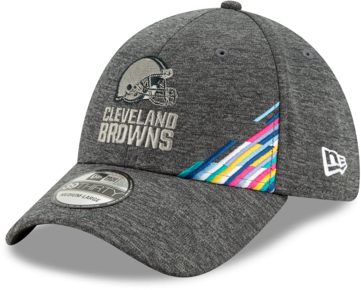 New Era Men's Cleveland Browns Sideline Crucial Catch 39Thirty Graphite Stretch Fit Hat