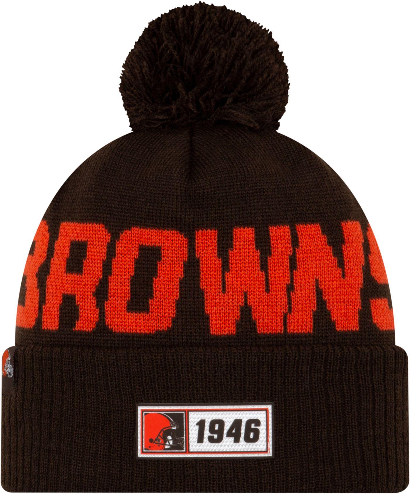 New Era Men's Cleveland Browns Sideline Road Sport Pom Knit