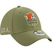 New Era Men's Salute to Service Cleveland Browns 39Thirty Olive Stretch Fit Hat