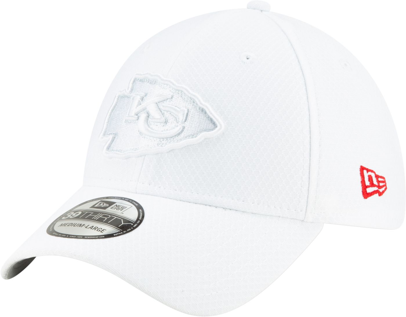 New Era Men's Kansas City Chiefs Sideline 100th 39Thirty Stretch Fit White Hat