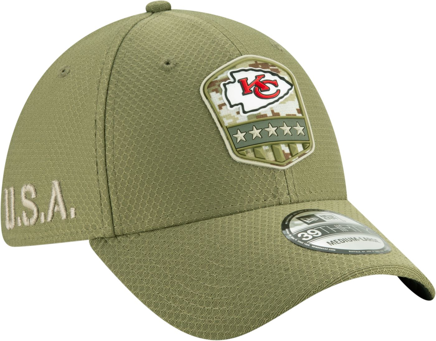 New Era Men's Salute to Service Kansas City Chiefs 39Thirty Olive Stretch Fit Hat