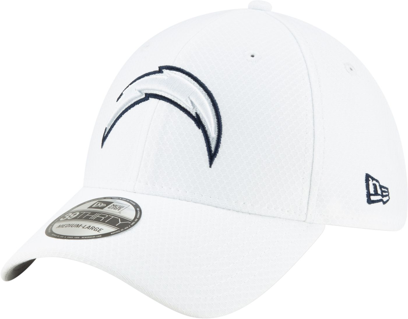 New Era Men's Los Angeles Chargers Sideline 100th 39Thirty Stretch Fit White Hat