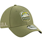 New Era Men's Salute to Service Los Angeles Chargers 39Thirty Olive Stretch Fit Hat