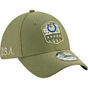 New Era Men's Salute to Service Indianapolis Colts 39Thirty Olive Stretch Fit Hat