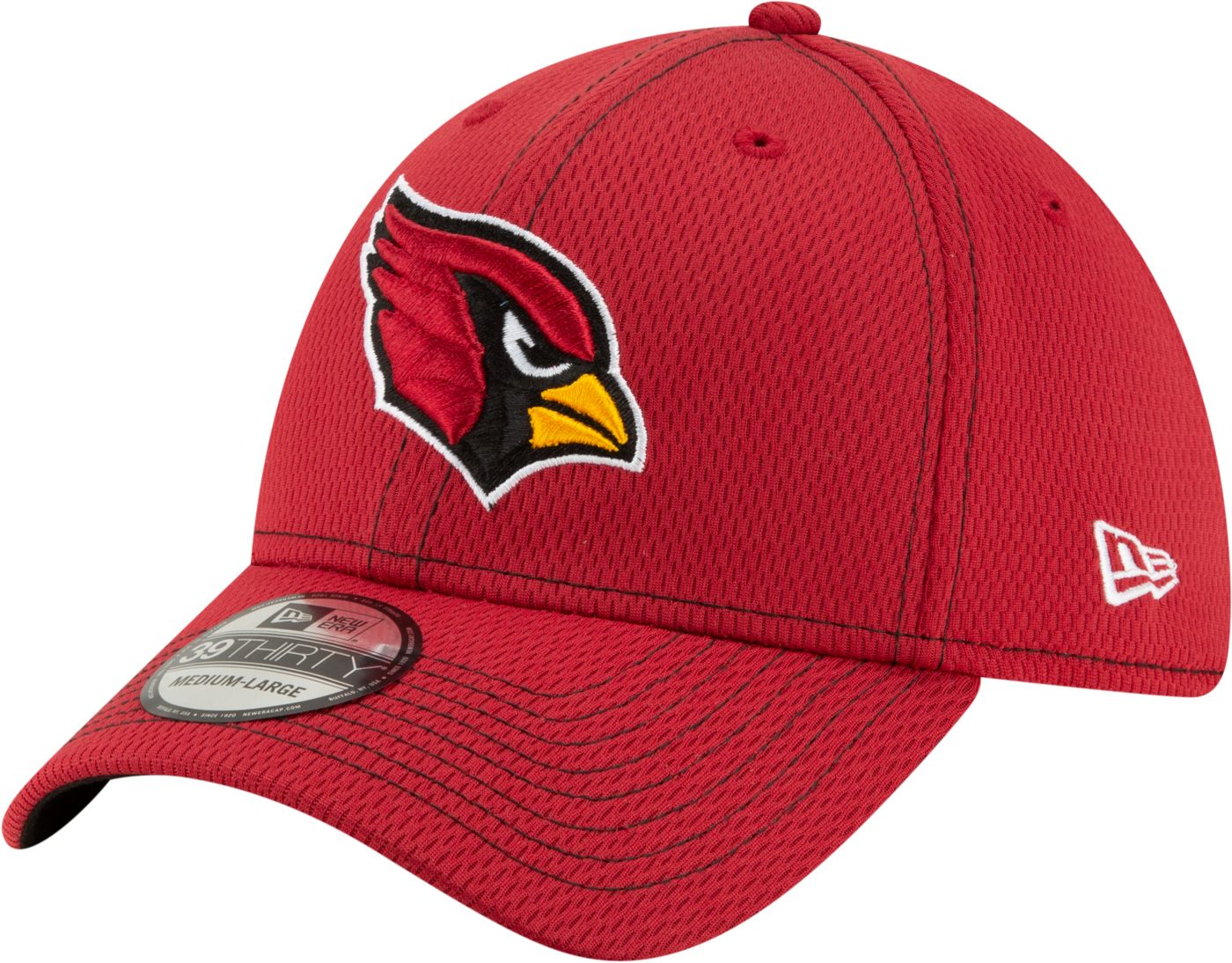 New Era Men's Arizona Cardinals Sideline Road 39Thirty Stretch Fit Black Hat
