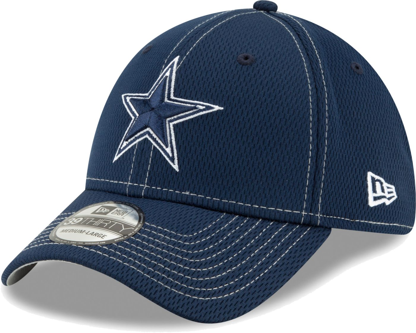 New Era Men's Dallas Cowboys Sideline 100th 39Thirty Stretch Fit Navy Hat