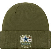 New Era Men's Salute to Service Dallas Cowboys Olive Cuffed Knit