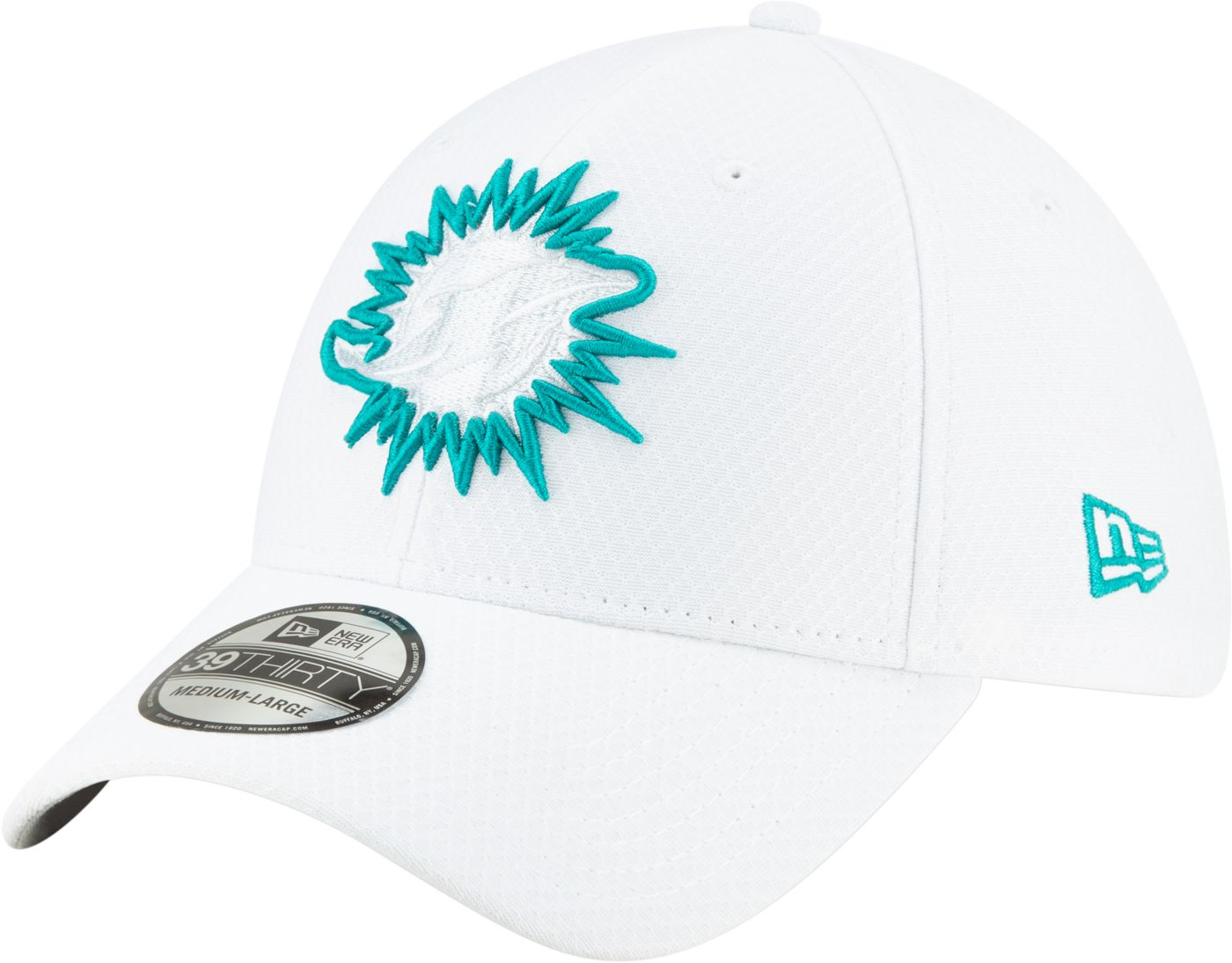 New Era Men's Miami Dolphins Sideline 100th 39Thirty Stretch Fit White Hat