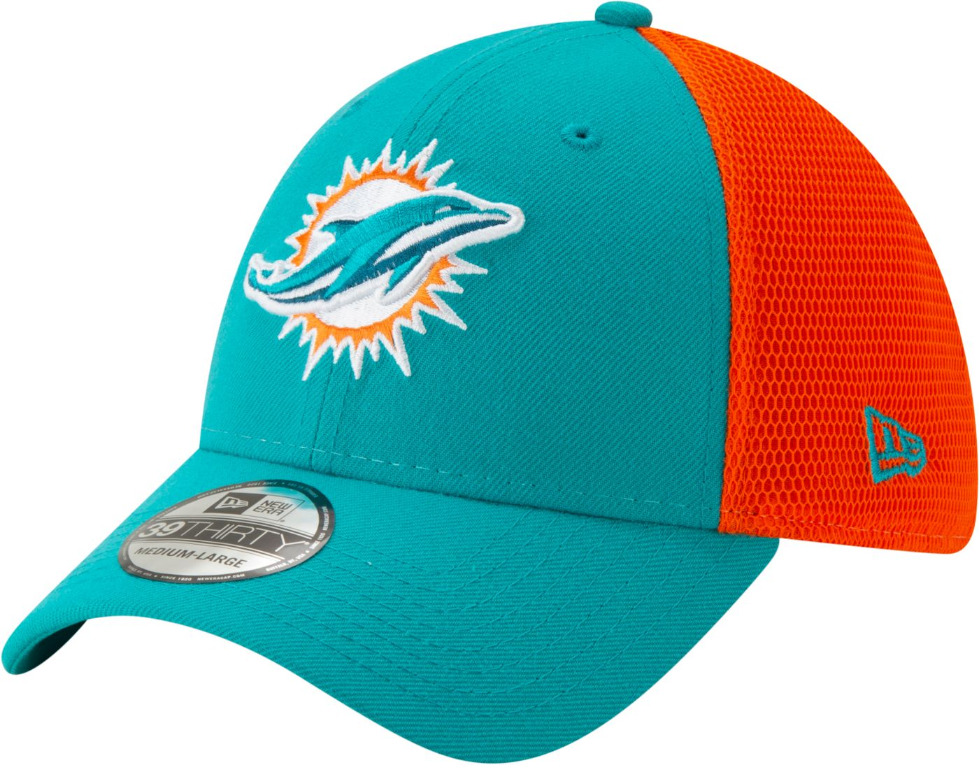 New Era Men's Miami Dolphins 2Tone Sided 39Thirty Stretch Fit Hat