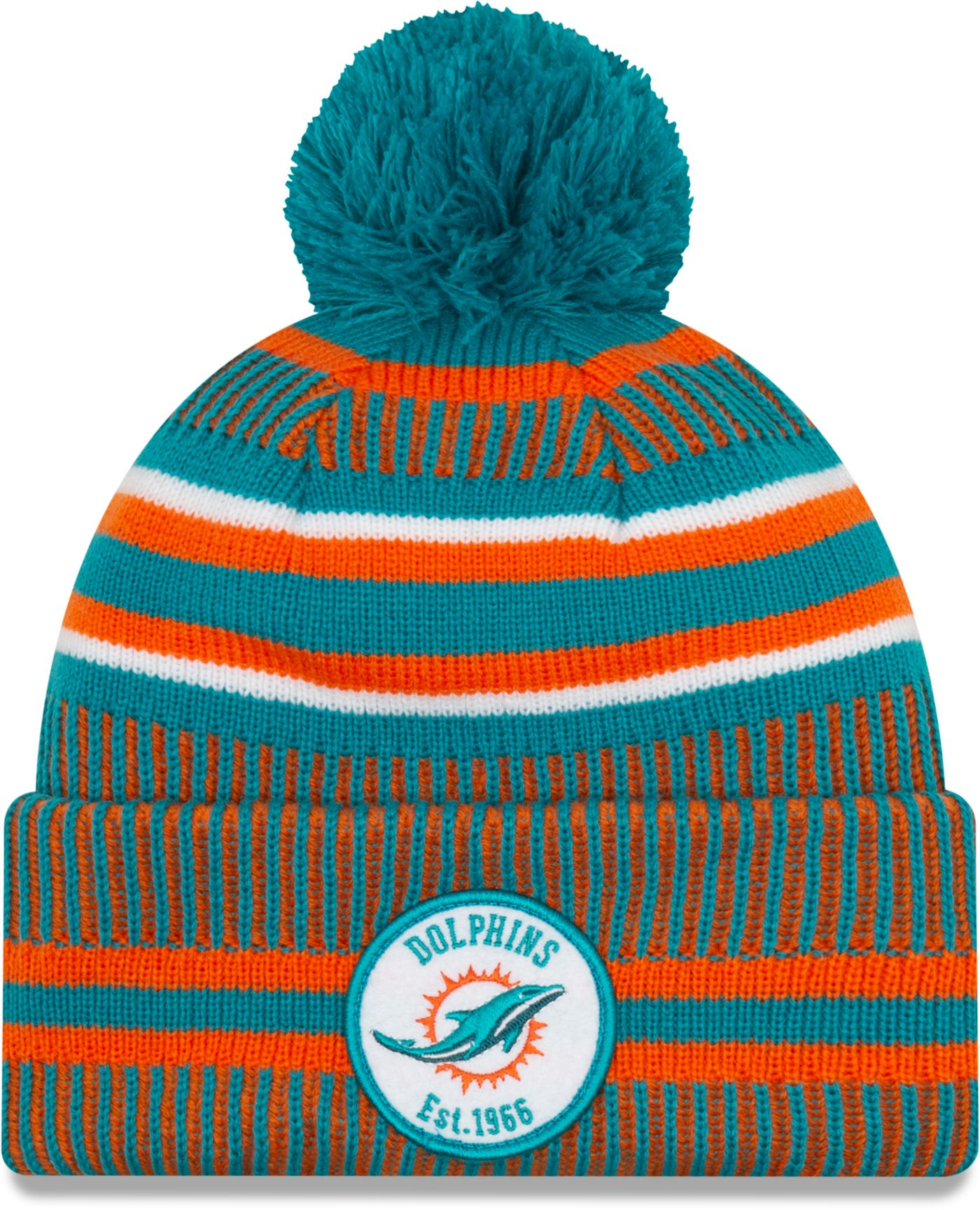 New Era Men's Miami Dolphins Sideline Home Sport Pom Knit