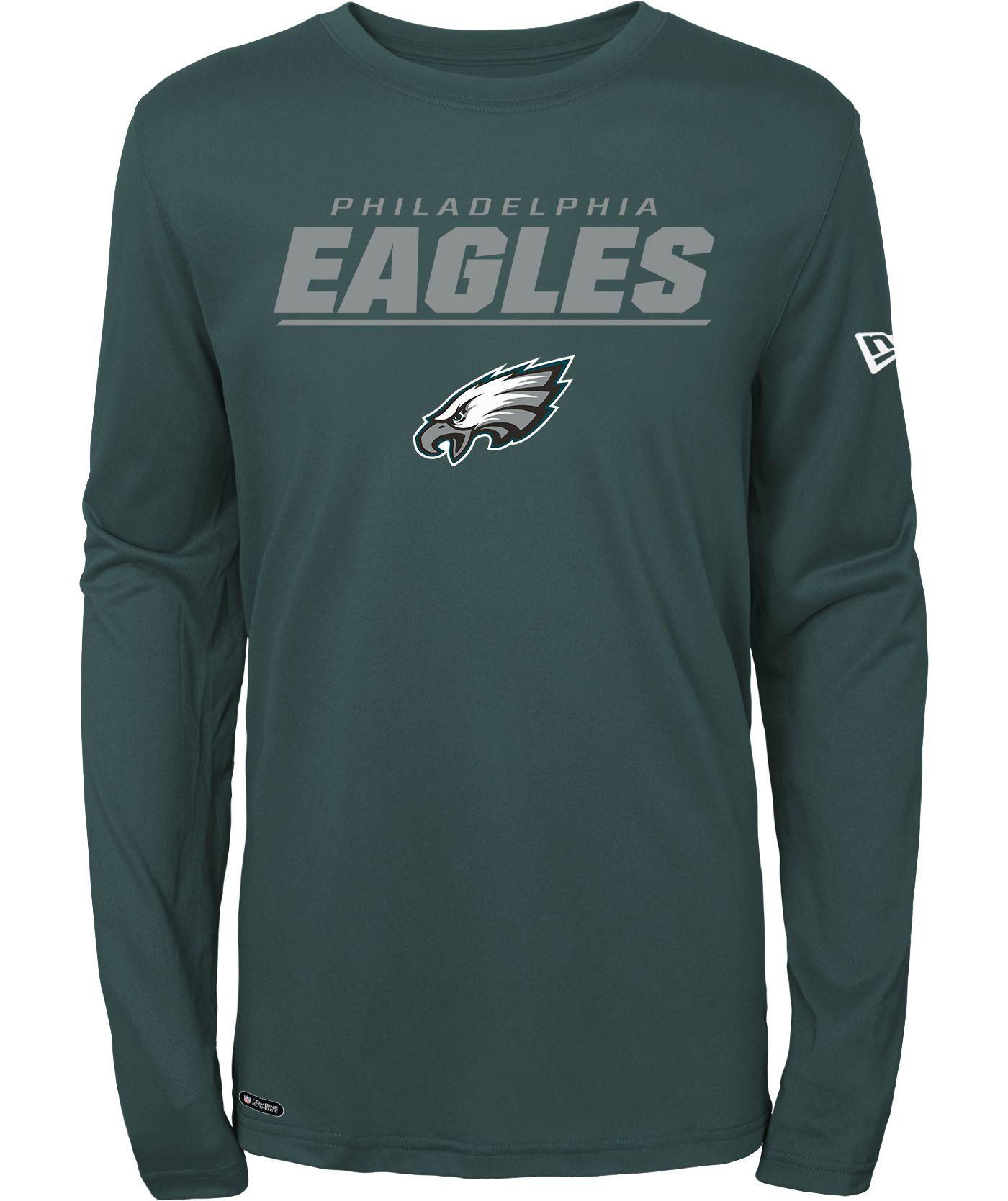 New Era Men's Philadelphia Eagles Combine Green Polyester Long Sleeve Shirt