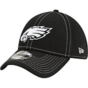 New Era Men's Philadelphia Eagles Sideline Road 39Thirty Stretch Fit Black Hat