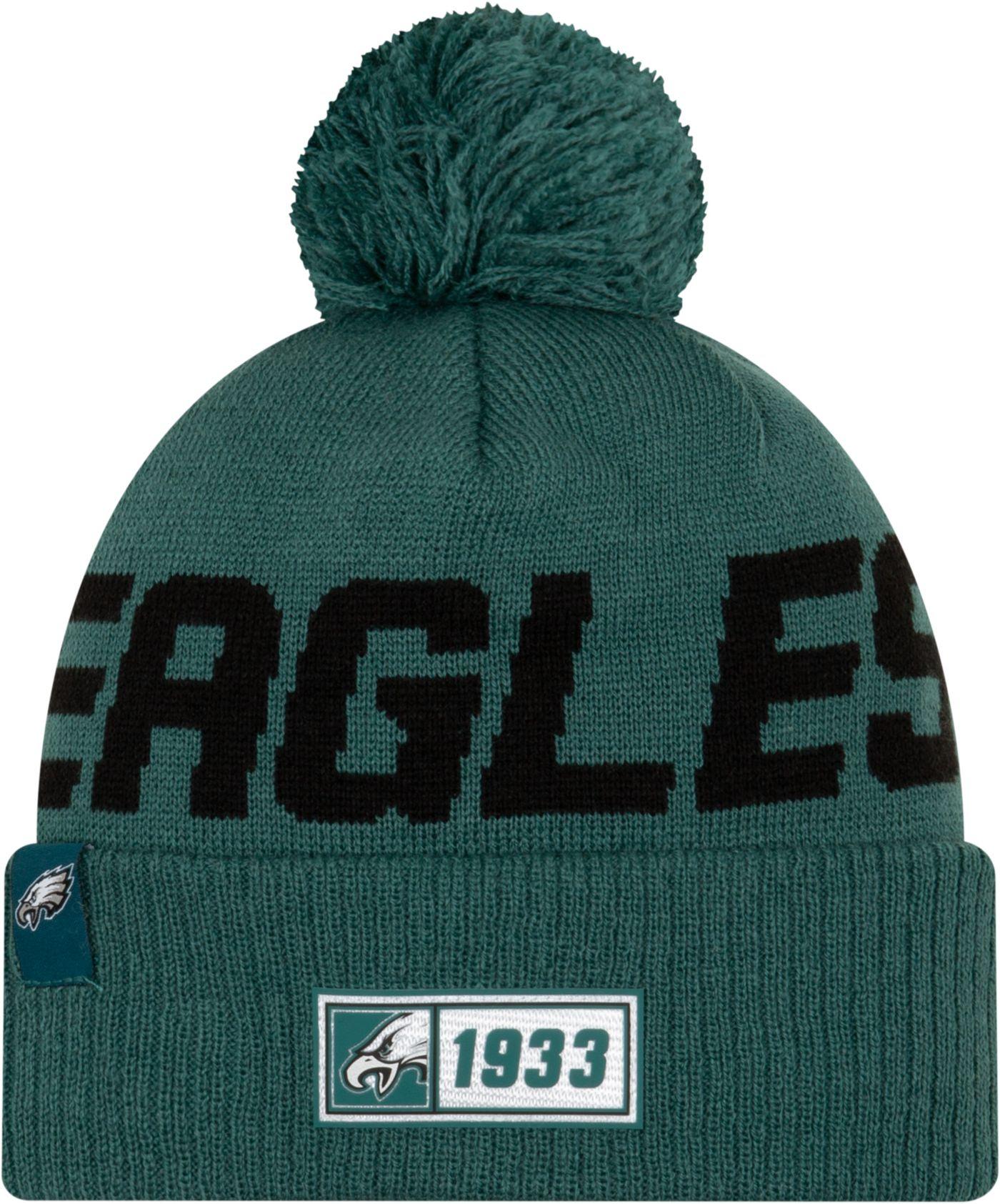 New Era Men's Philadelphia Eagles Sideline Road Sport Pom Knit