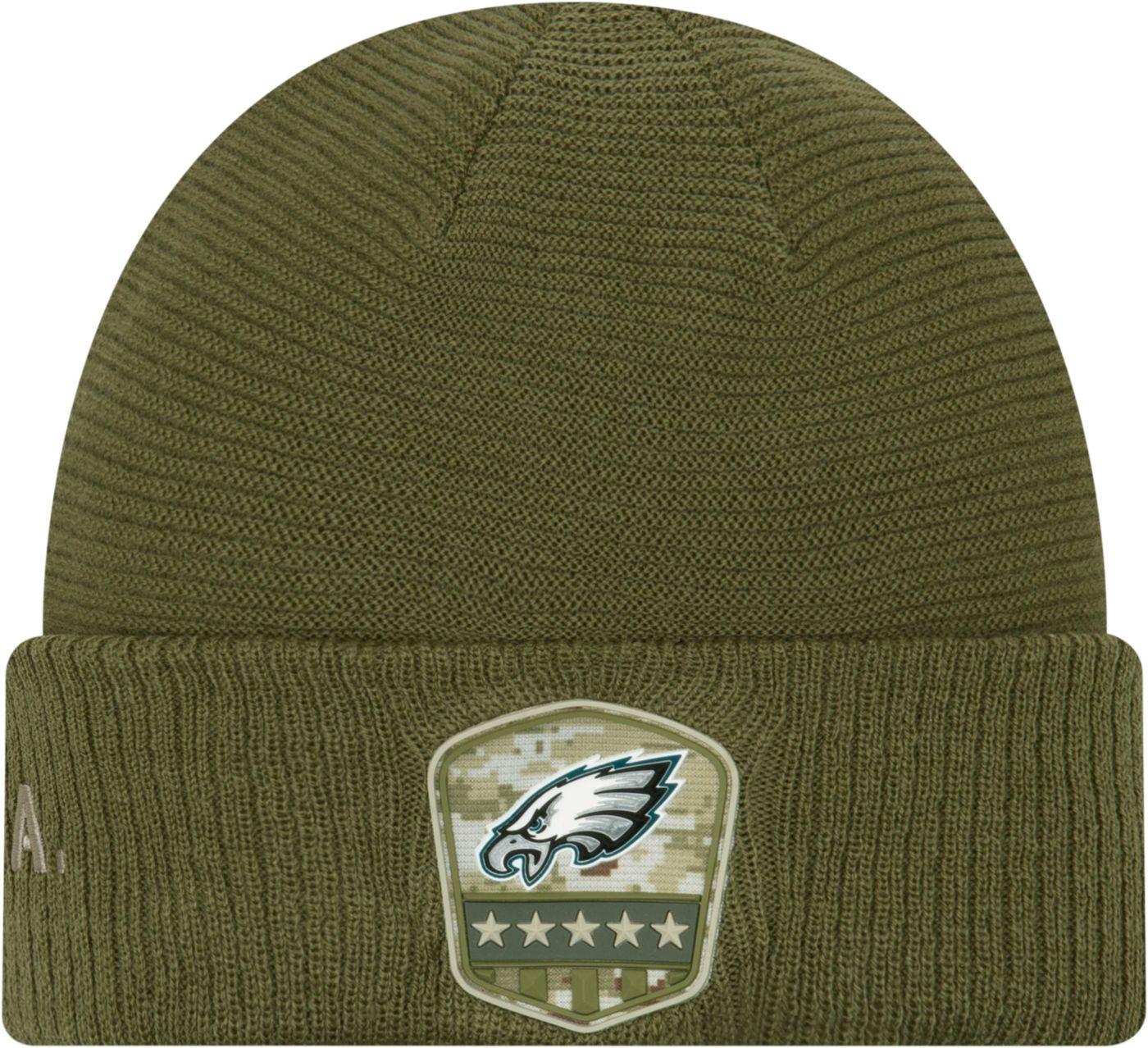 New Era Men's Salute to Service Philadelphia Eagles Olive Cuffed Knit