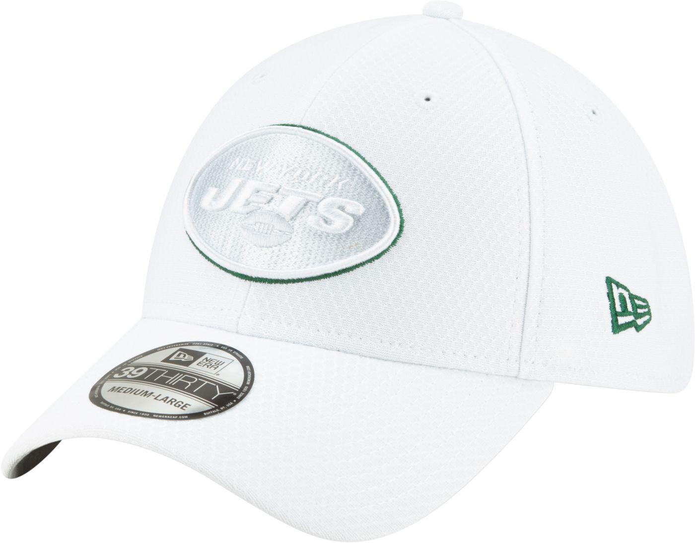 New Era Men's New York Jets Sideline 100th 39Thirty Stretch Fit White Hat