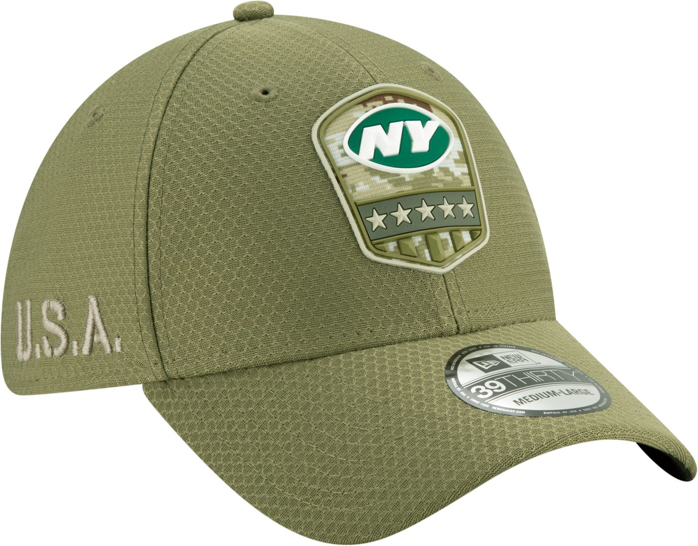 New Era Men's Salute to Service New York Jets 39Thirty Olive Stretch Fit Hat