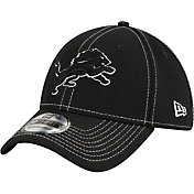 New Era Men's Detroit Lions Sideline Road 39Thirty Stretch Fit Black Hat