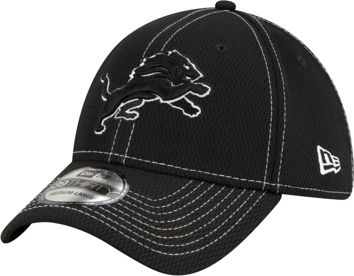 New Era Men's Detroit Lions Sideline Road 39Thirty Stretch Fit Black Hat
