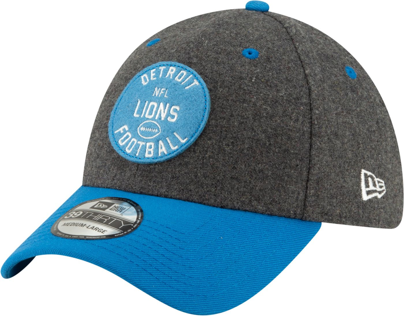 New Era Men's Detroit Lions Sideline Home 39Thirty Stretch Fit Hat