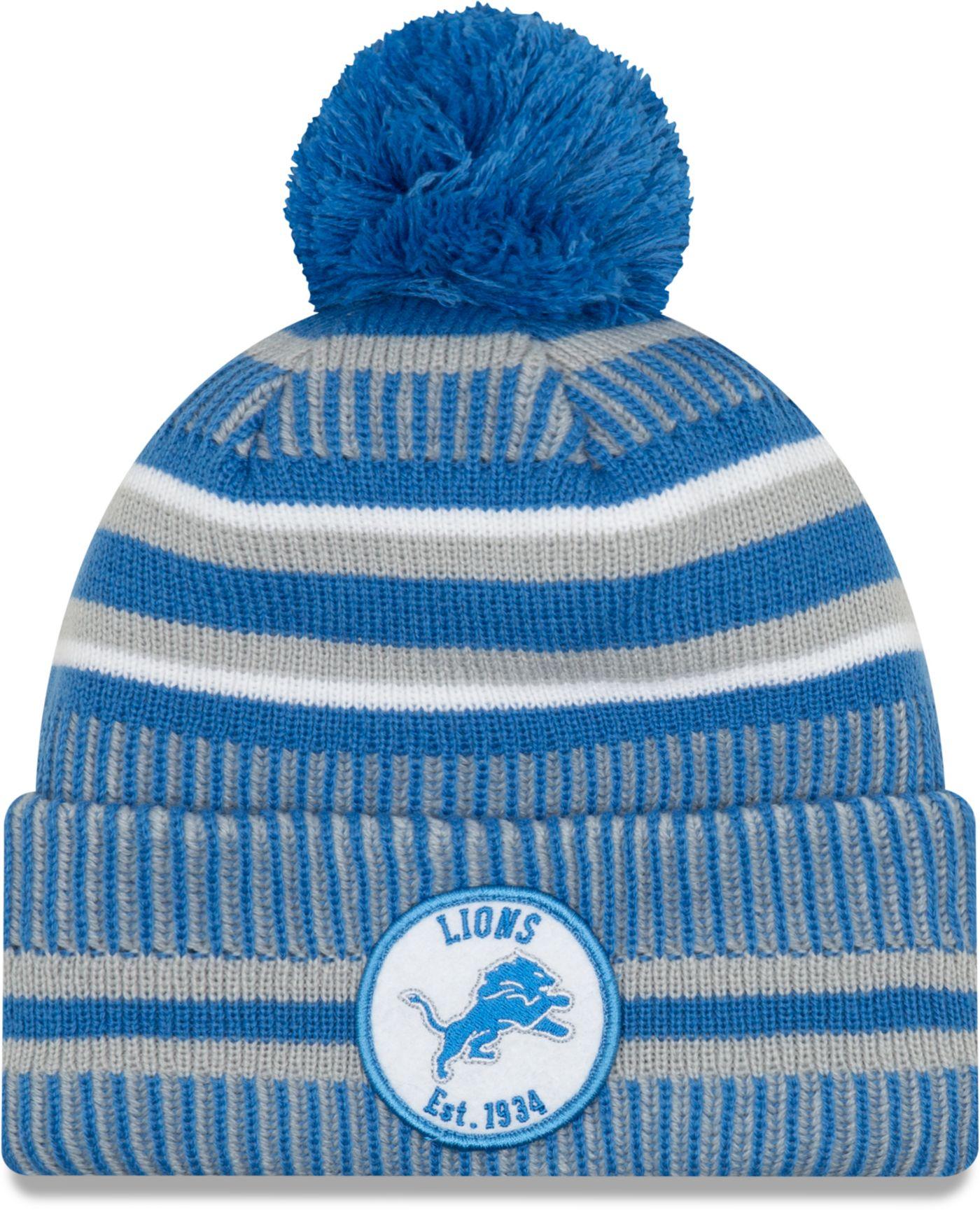 New Era Men's Detroit Lions Sideline Home Sport Pom Knit