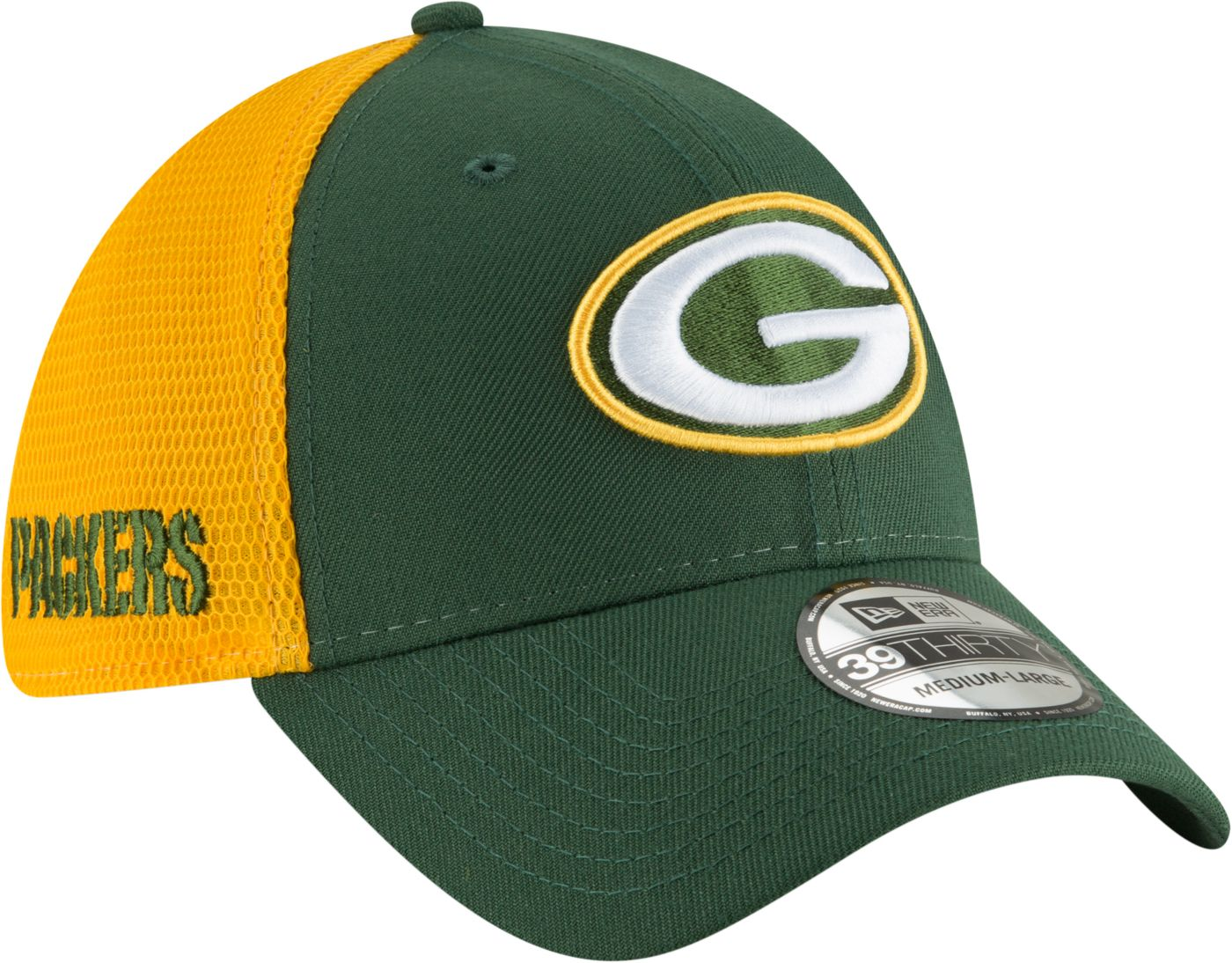 New Era Men's Green Bay Packers 2Tone Sided 39Thirty Stretch Fit Hat
