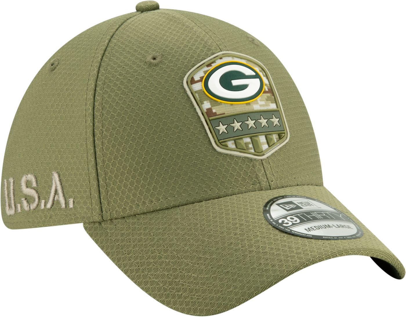 New Era Men's Salute to Service Green Bay Packers 39Thirty Olive Stretch Fit Hat