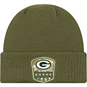 New Era Men's Salute to Service Green Bay Packers Olive Cuffed Knit