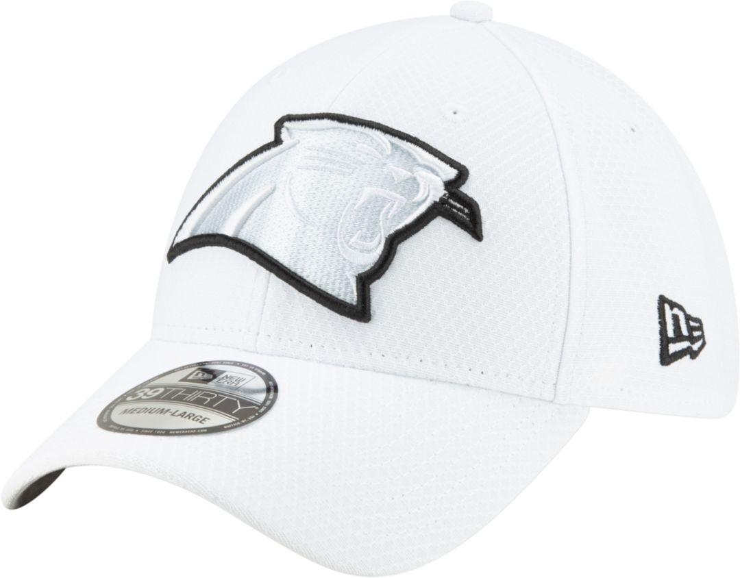 0002ac57d New Era Men's Carolina Panthers Sideline 100th 39Thirty Stretch Fit White  Hat