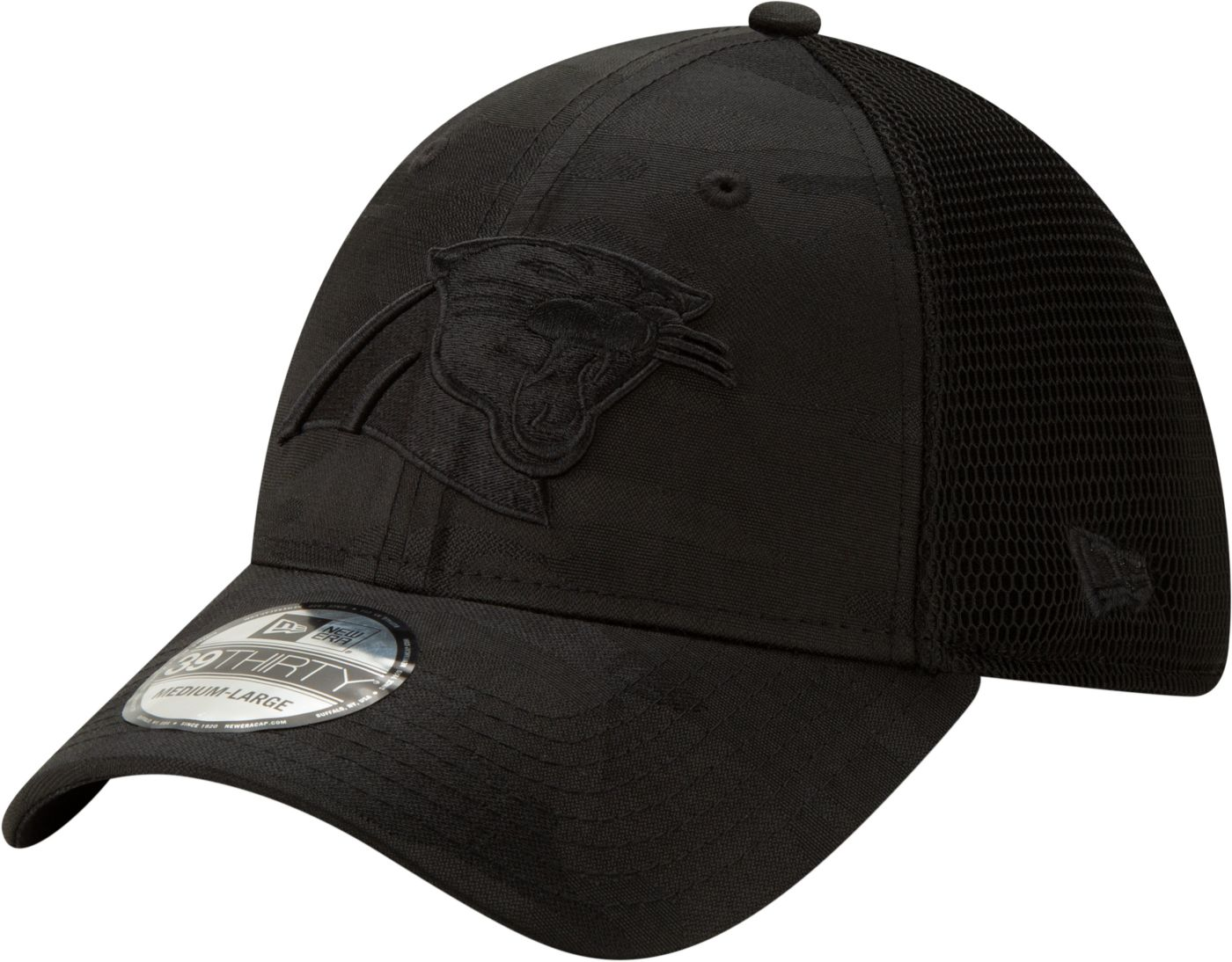 New Era Men's Carolina Panthers Neo Camo Front 39Thirty Black Stretch Fit Hat