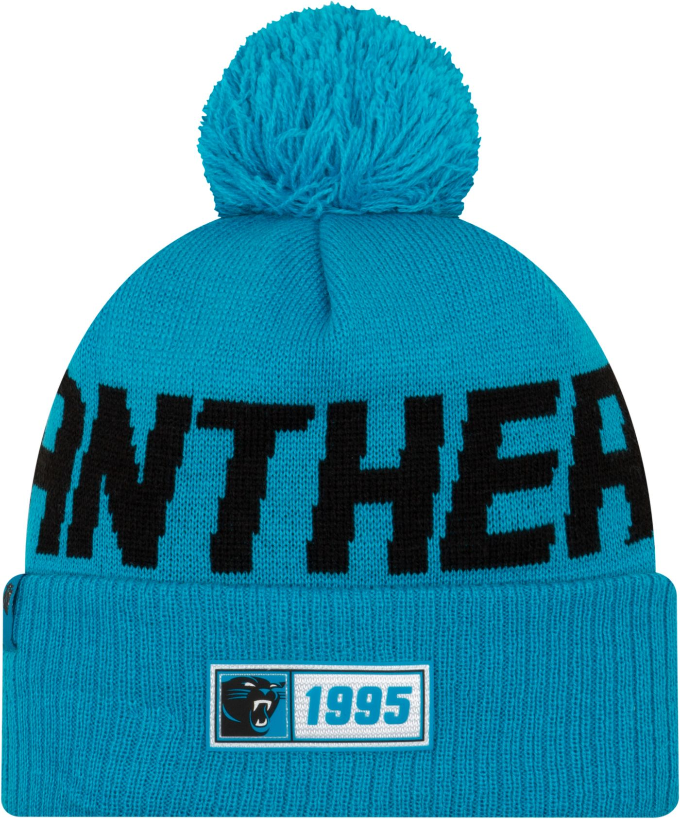 New Era Men's Carolina Panthers Sideline Road Sport Pom Knit