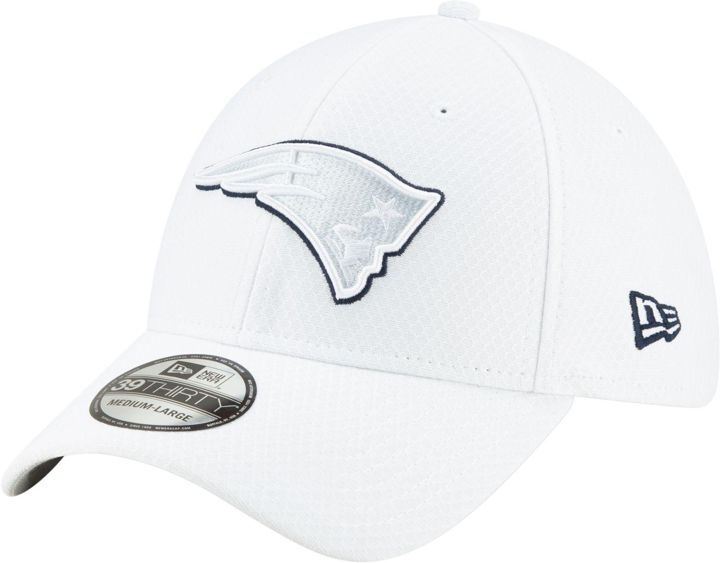 New Era Men's New England Patriots Sideline 100th 39Thirty Stretch Fit White Hat