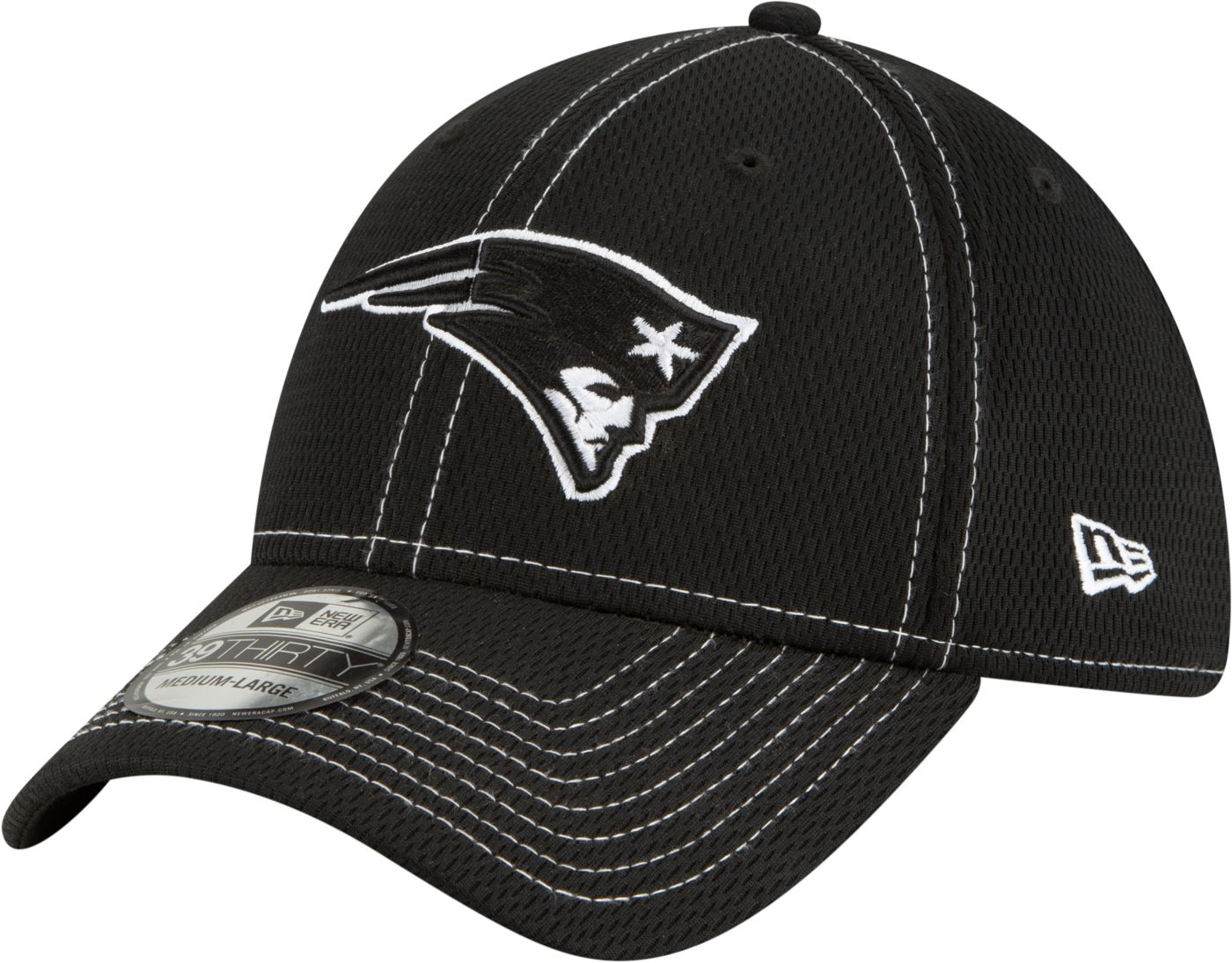 New Era Men's New England Patriots Sideline Road 39Thirty Stretch Fit Black Hat