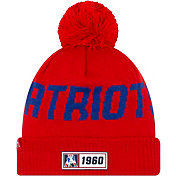 New Era Men's New England Patriots Sideline Road Sport Pom Knit