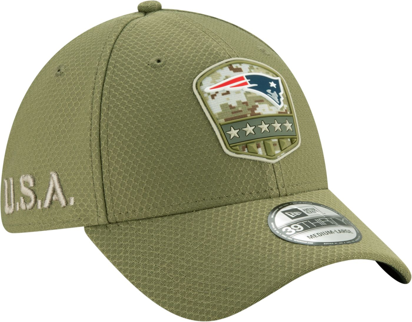 New Era Men's Salute to Service New England Patriots 39Thirty Olive Stretch Fit Hat