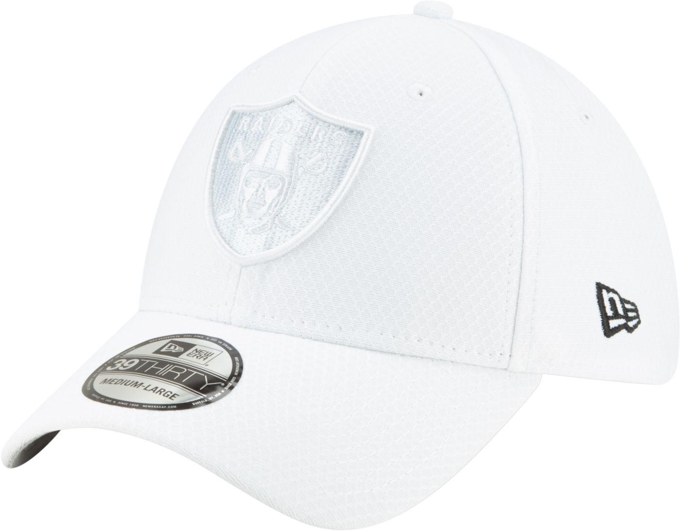 New Era Men's Oakland Raiders Sideline 100th 39Thirty Stretch Fit White Hat