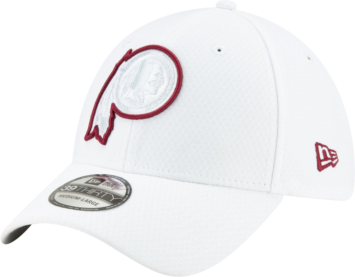 New Era Men's Washington Redskins Sideline 100th 39Thirty Stretch Fit White Hat