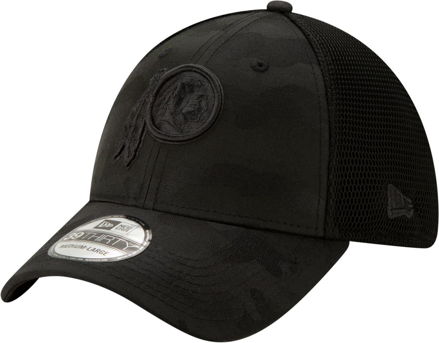 New Era Men's Washington Redskins Neo Camo Front 39Thirty Black Stretch Fit Hat