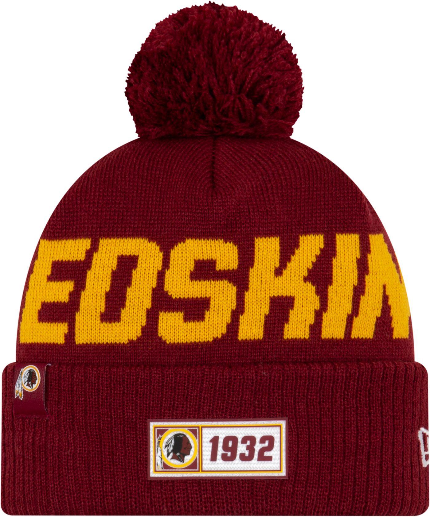 New Era Men's Washington Redskins Sideline Road Sport Pom Knit