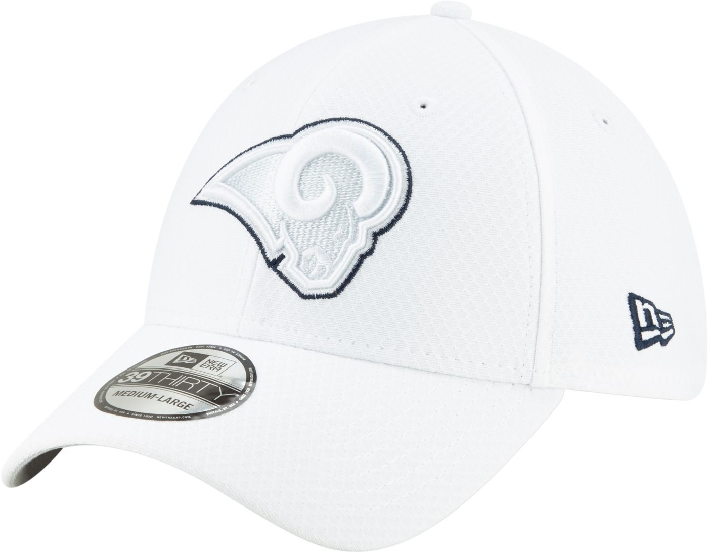 New Era Men's Los Angeles Rams Sideline 100th 39Thirty Stretch Fit White Hat