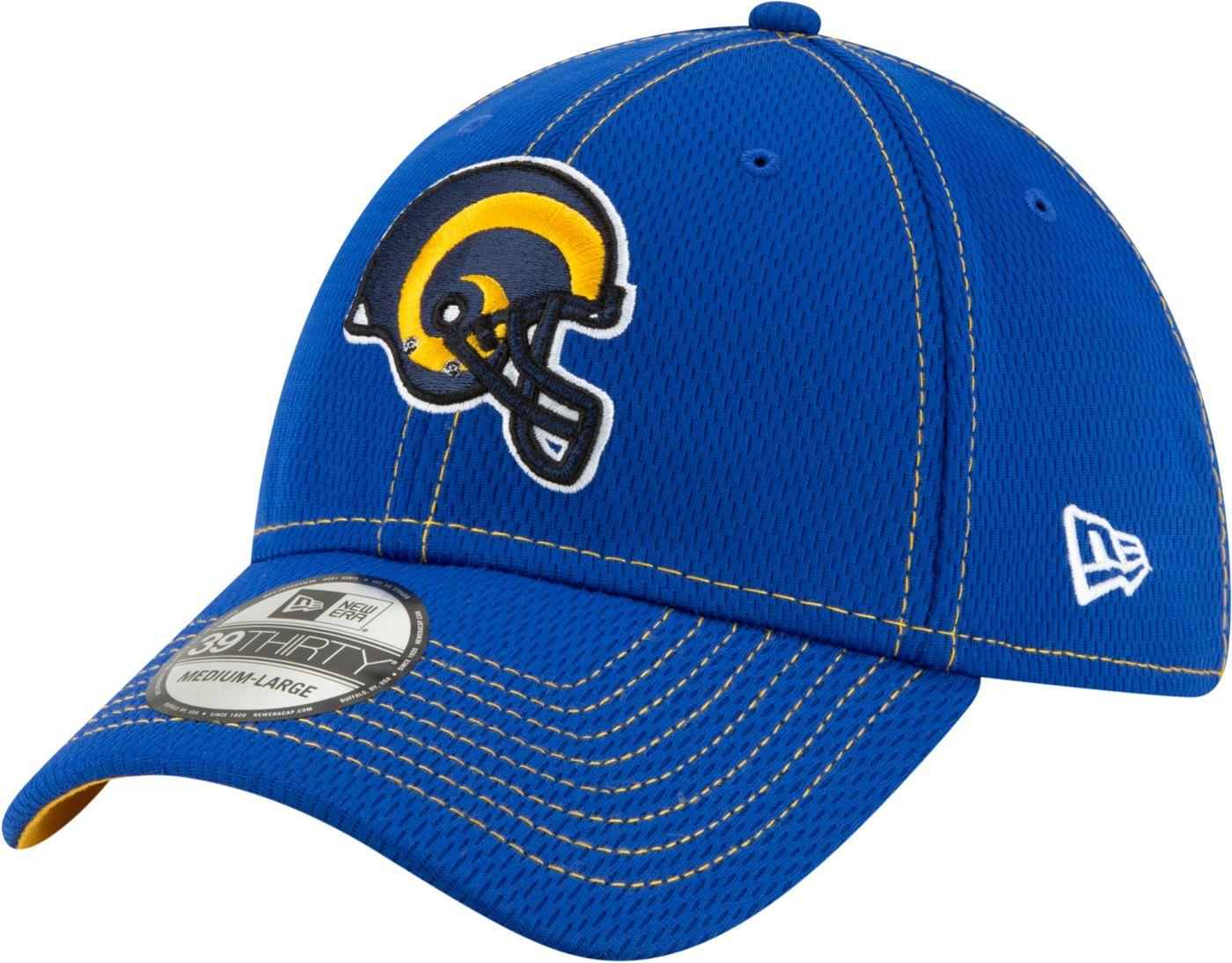 New Era Men's Los Angeles Rams Sideline Road Helmet 39Thirty Stretch Fit Hat