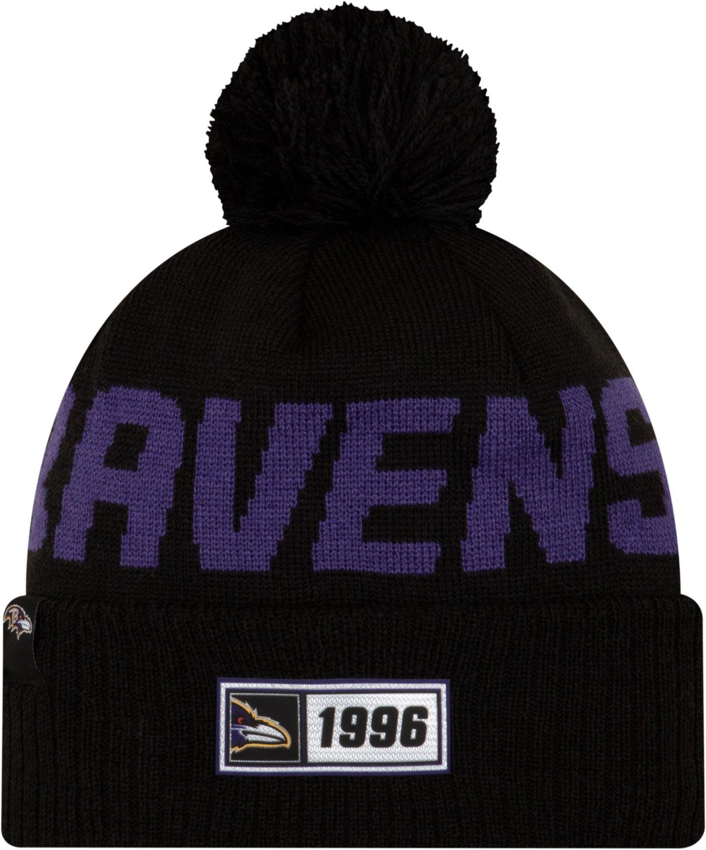 New Era Men's Baltimore Ravens Sideline Road Sport Pom Knit