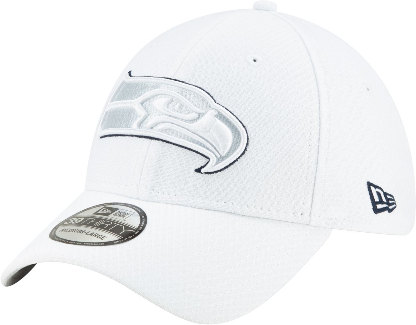 New Era Men's Seattle Seahawks Sideline 100th 39Thirty Stretch Fit White Hat