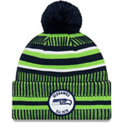 New Era Men's Seattle Seahawks Sideline Home Sport Pom Knit Hat