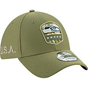 New Era Men's Salute to Service Seattle Seahawks 39Thirty Olive Stretch Fit Hat