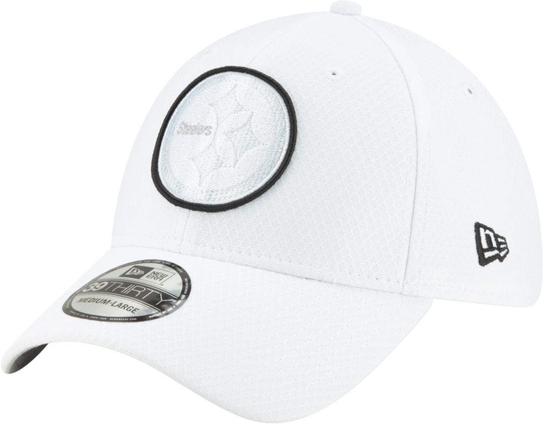 ab50d5f7 New Era Men's Pittsburgh Steelers Sideline 100th 39Thirty Stretch Fit White  Hat
