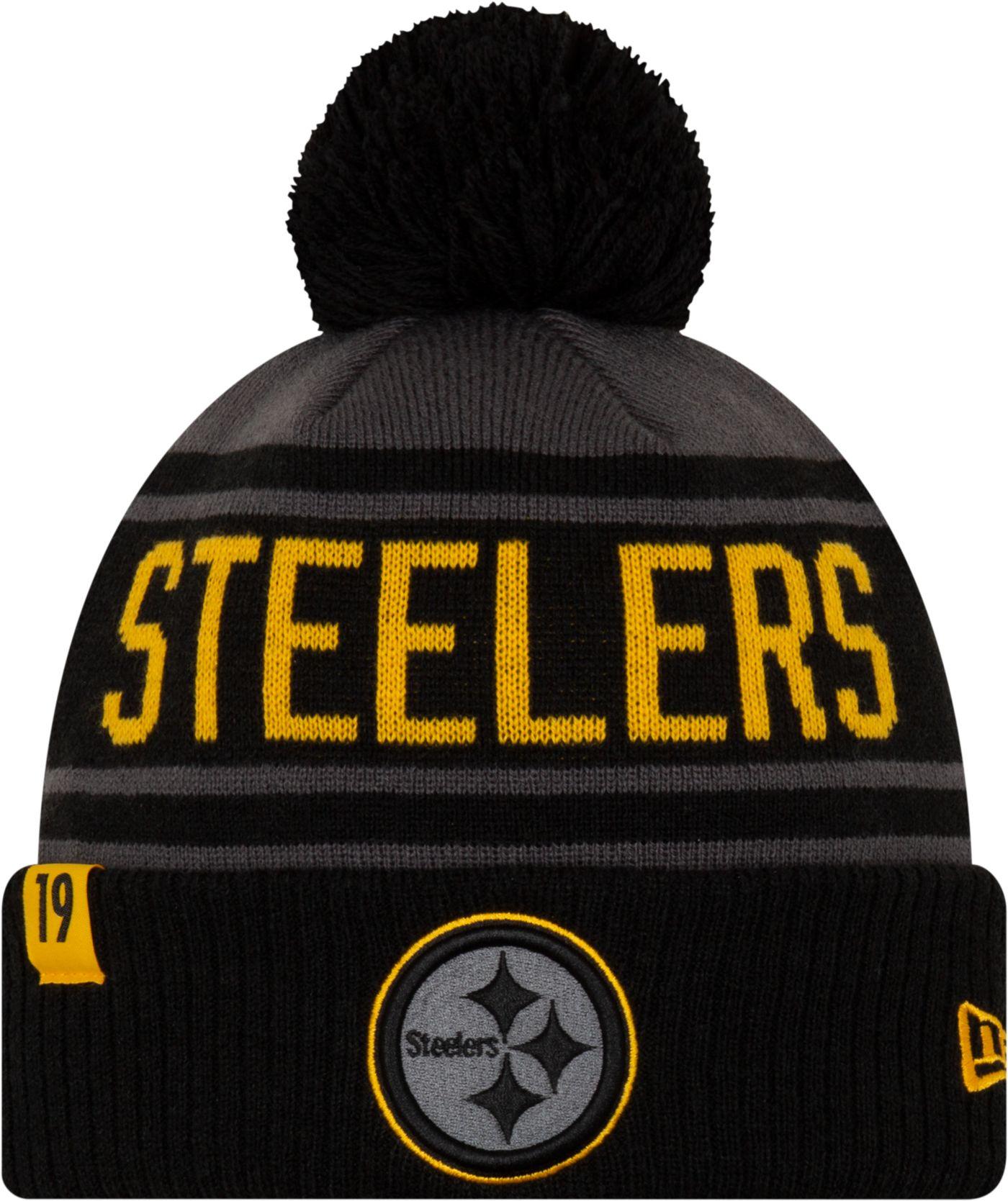 New Era Men's Pittsburgh Steelers JuJu #19 Black Pom Knit