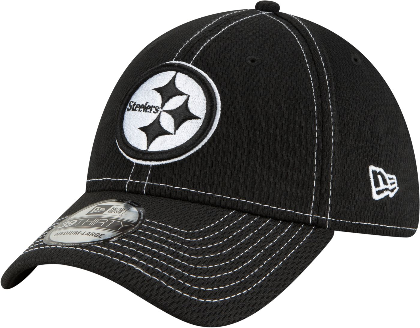 New Era Men's Pittsburgh Steelers Sideline Road 39Thirty Stretch Fit Black Hat