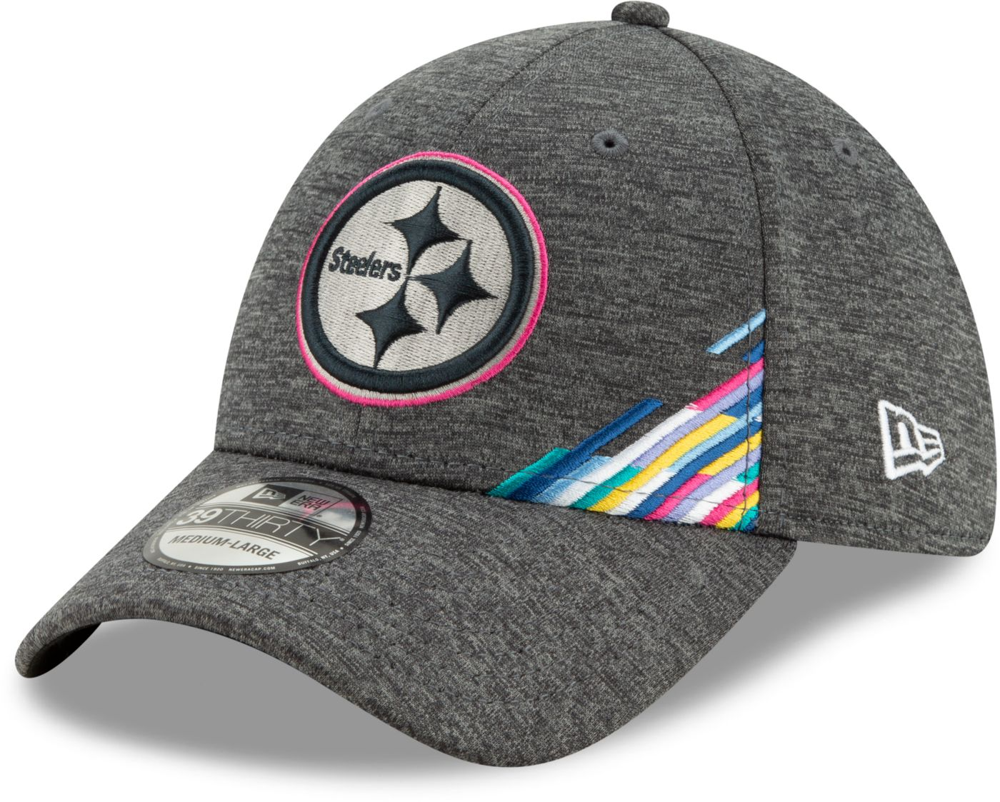 New Era Men's Pittsburgh Steelers Sideline Crucial Catch 39Thirty Graphite Stretch Fit Hat