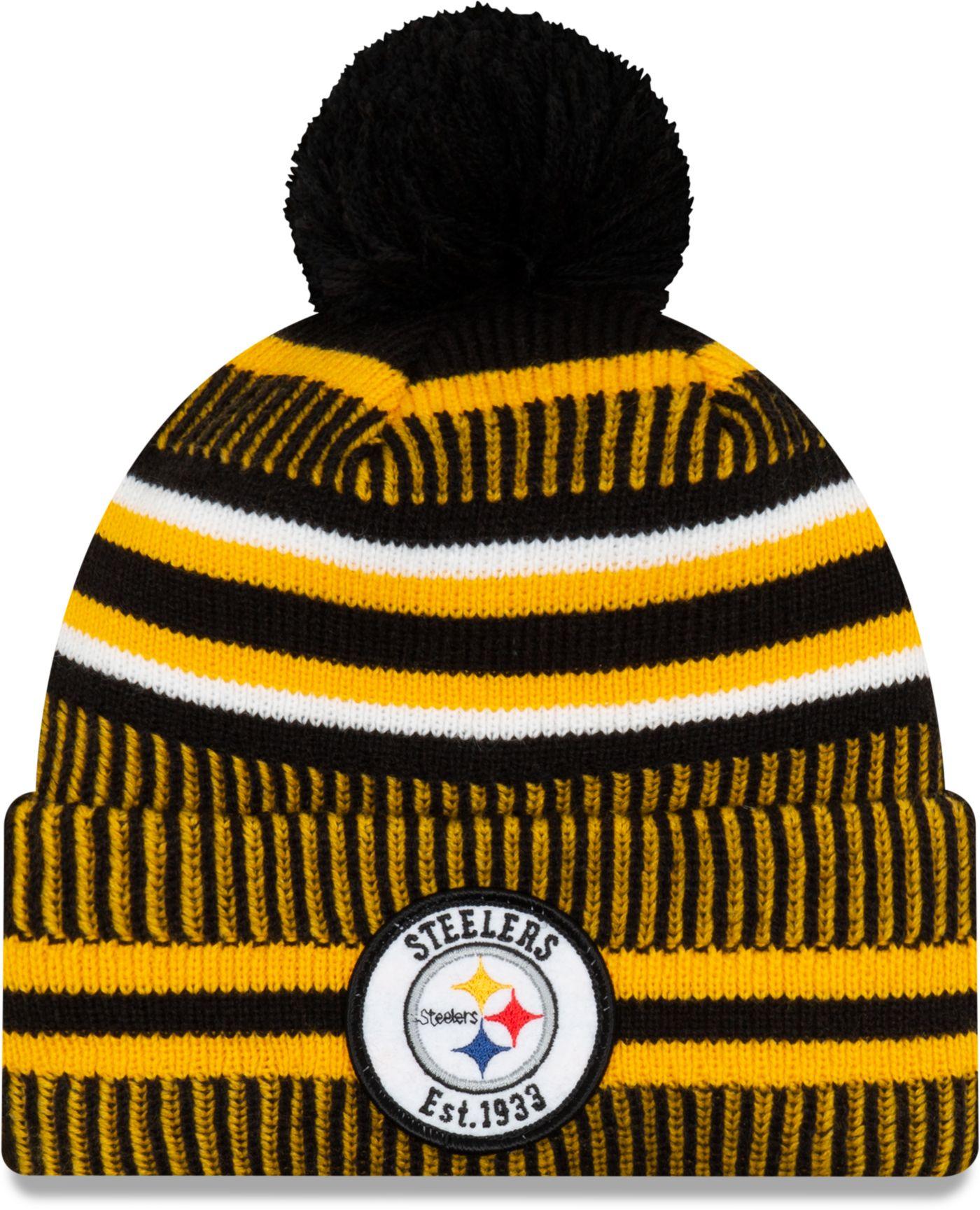 New Era Men's Pittsburgh Steelers Sideline Home Sport Pom Knit